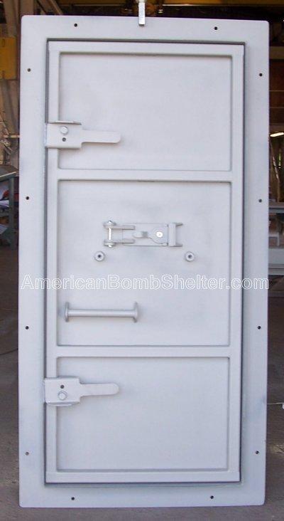 Inside a steel ballistic door for a safe room