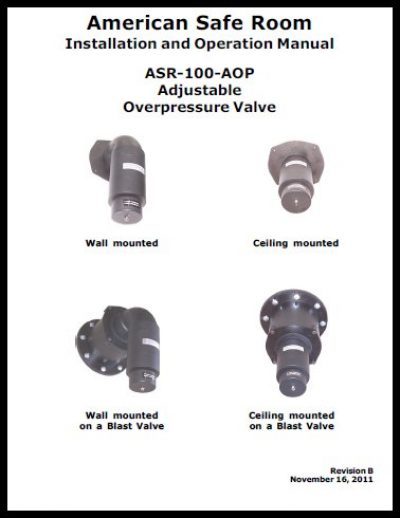 Adjustable overpressure valve technical manual