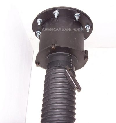 Ceiling mounted blast valve with air intake hose from an NBC filter