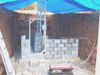 Bomb shelter walls are built