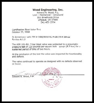 Engineer's certificate for the blast valve
