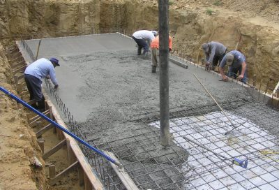 The floor pad being screeded